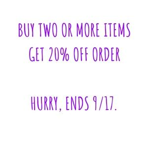20% off two or more items!